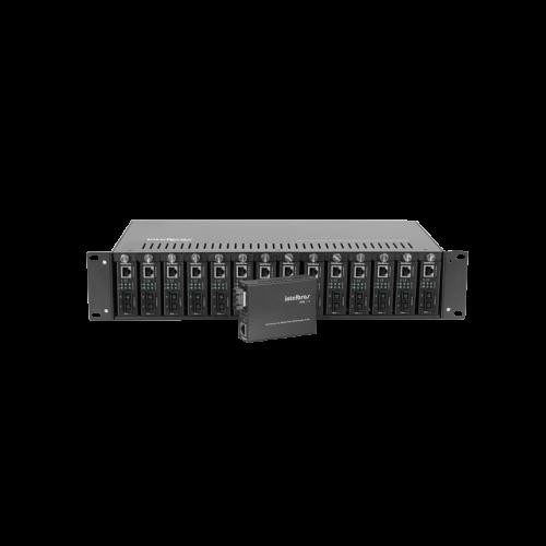 """KX1400R - CHASSI RACK 19"""" 14 SLOTS P/ CONVERSORES DE MIDIA - INTELBRAS REDES FIBRA OPTICA"""